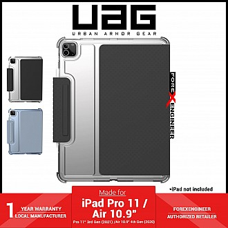 """UAG [U] Lucent for iPad Air 10.9"""" ( 4th Gen ) / iPad Pro 11 inch ( 3rd / 2nd / 1st Gen ) ( 2021 - 2018 ) Case - Black / Ice (Barcode : 810070361143 )"""
